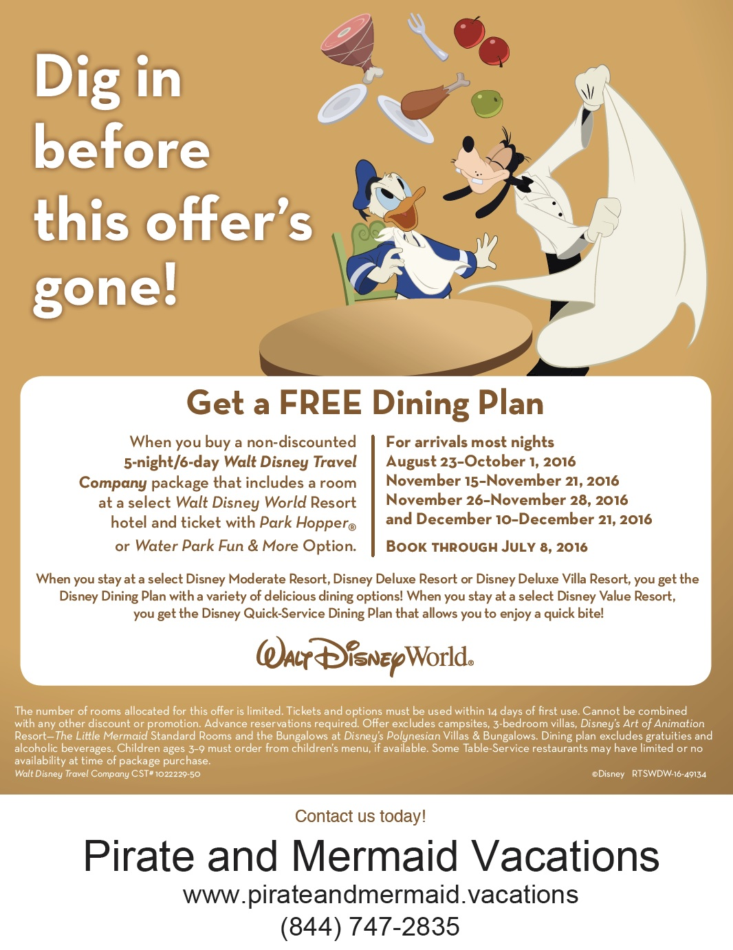 The 2016 Free Dining Sale Is Now Available for Select Nights At Select Disney Resorts