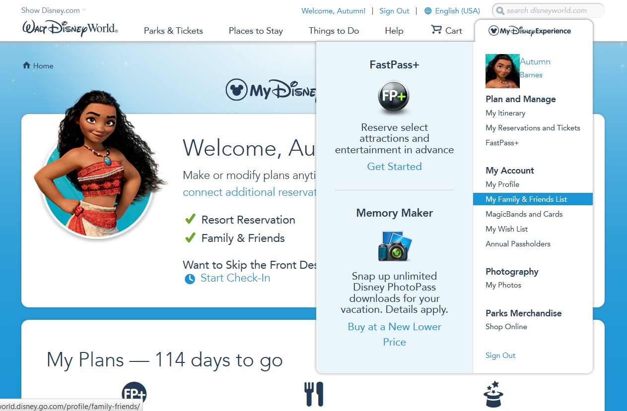 How to add friends and family to your My Disney Experience account
